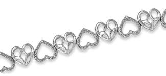 Jessica Simpson Diamond Accent Muli-Heart Bracelet
