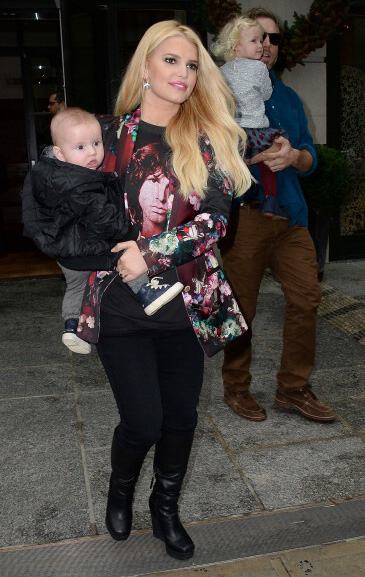 Jessica Simpson walking with son