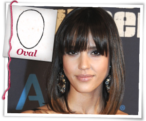 Jessica Alba with an oval face hairstyle