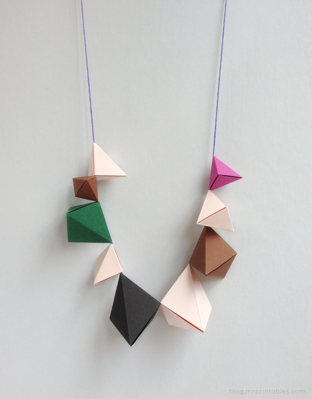 Origami Bipyramid necklace