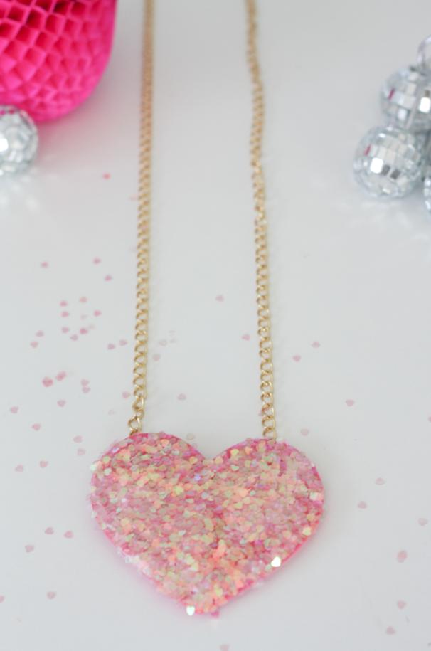 Disco ball heart necklace