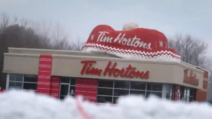 Tim Hortons surprises town with yarn-bombing