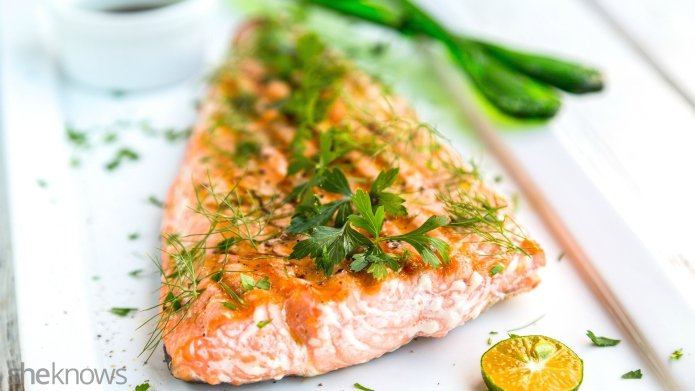 Griddle-cooked salmon with soy-ginger sauce