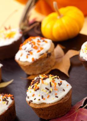 Pumpkin Cocoa Nib Cupcakes