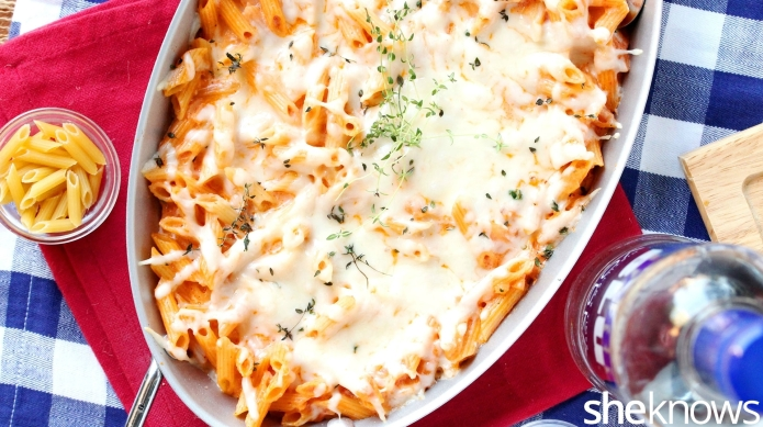 Mac and cheese with tomato vodka