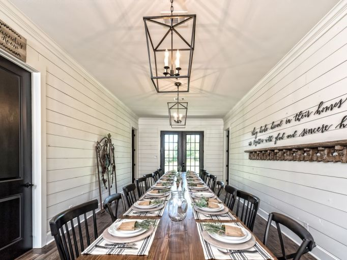 Fixer Upper Houses for Rent: Host events at the Barndominium, which has seating for 20