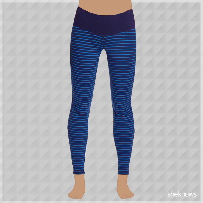Blue striped athleisure leggings