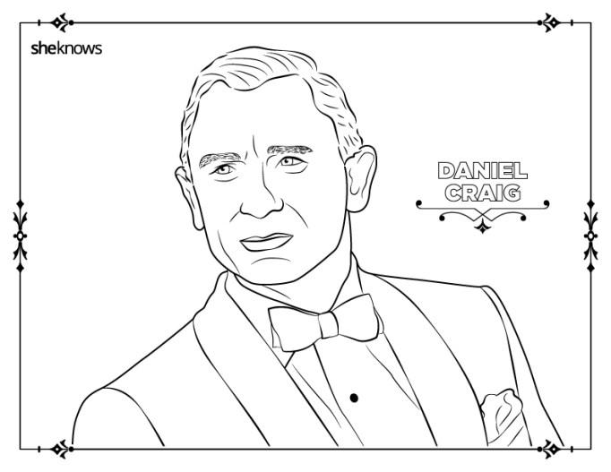 Daniel Craig coloring-book page