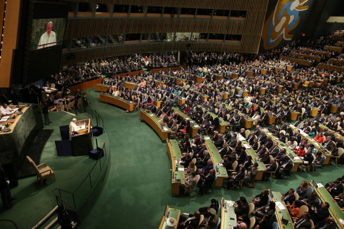 Pope Francis addresses the United Nations General Assembly