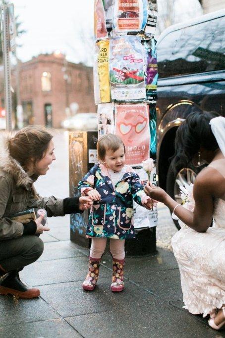 Weddings   real wedding photo shoot   bride meets little girl