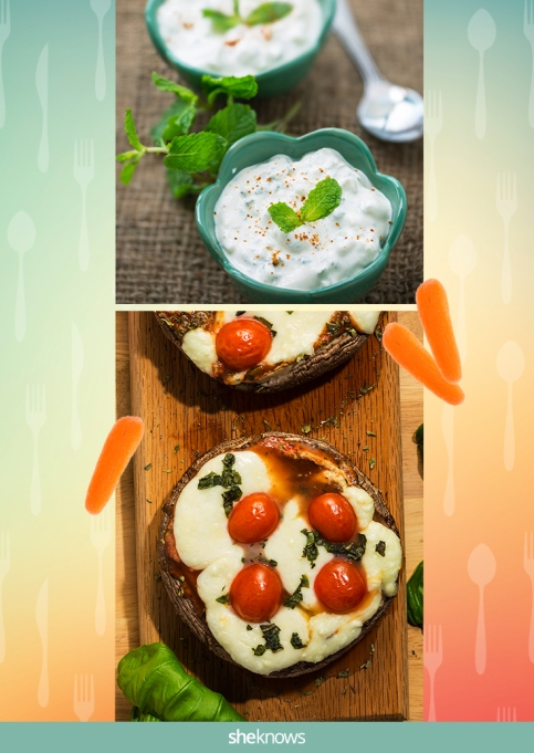 English muffin 'pizza' with a side of baby carrots and yogurt dip