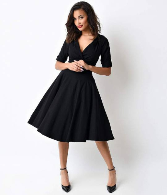 What to Wear to a Fall or Winter Wedding: Unique Vintage 1950s Style Black Delores Sleeved Swing Dress | Fall Style 2017