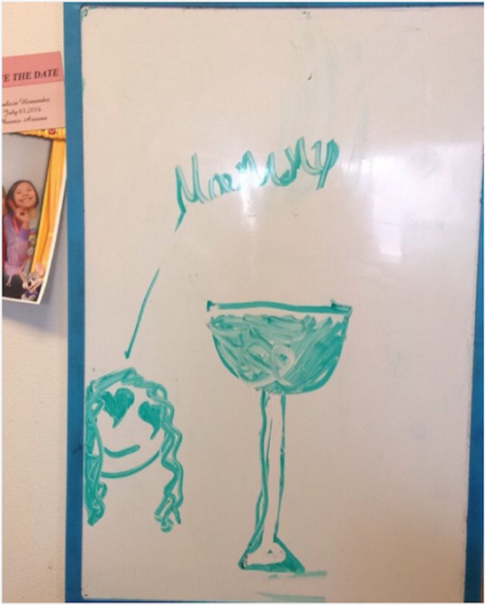 Wine on a whiteboard
