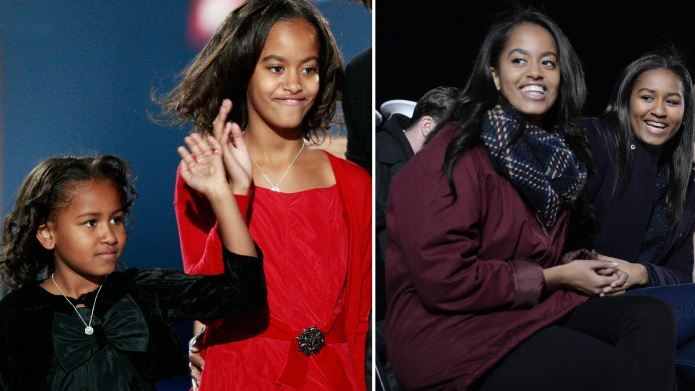 malia and sasha obama growing up