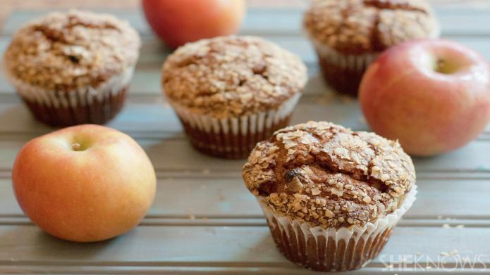 Vegan apple-raisin bran muffins are a