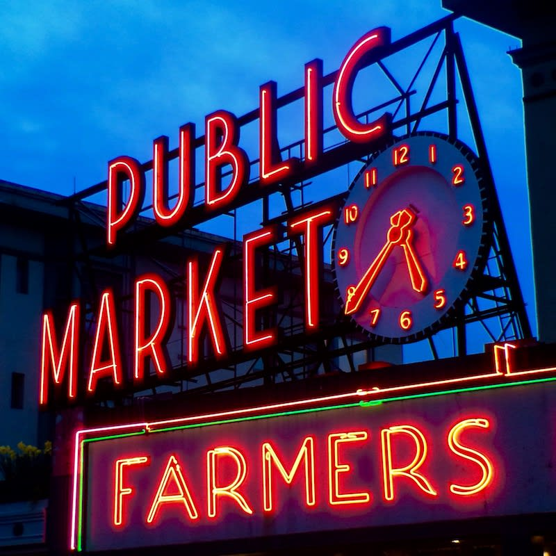 Pike Place Market at night, Seattle