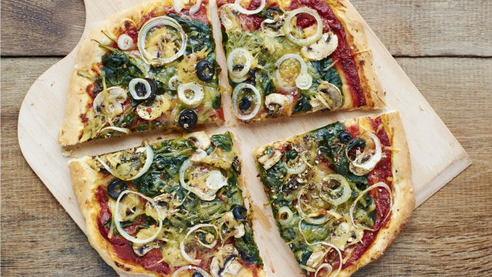 Vegan spinach and mushroom pizza that