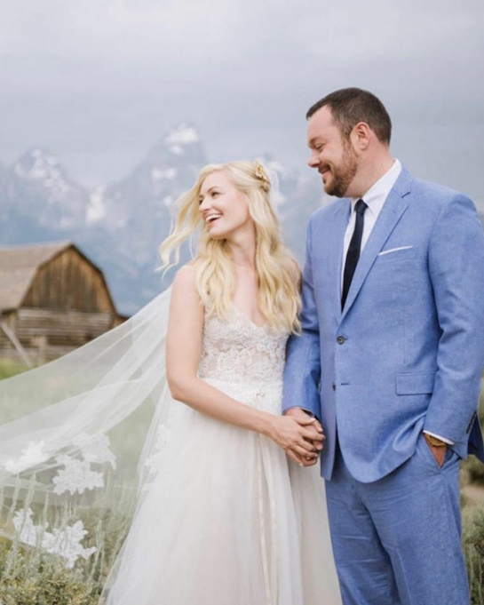 Beth Behrs & Michael Gladis on their wedding day