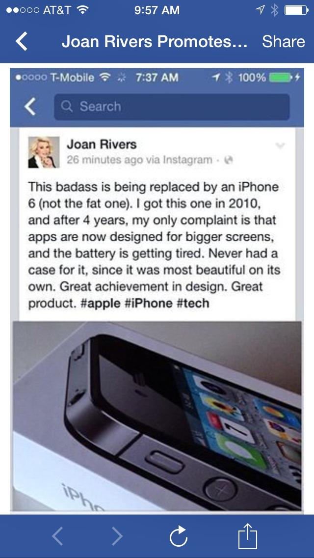 Joan Rivers iPhone post