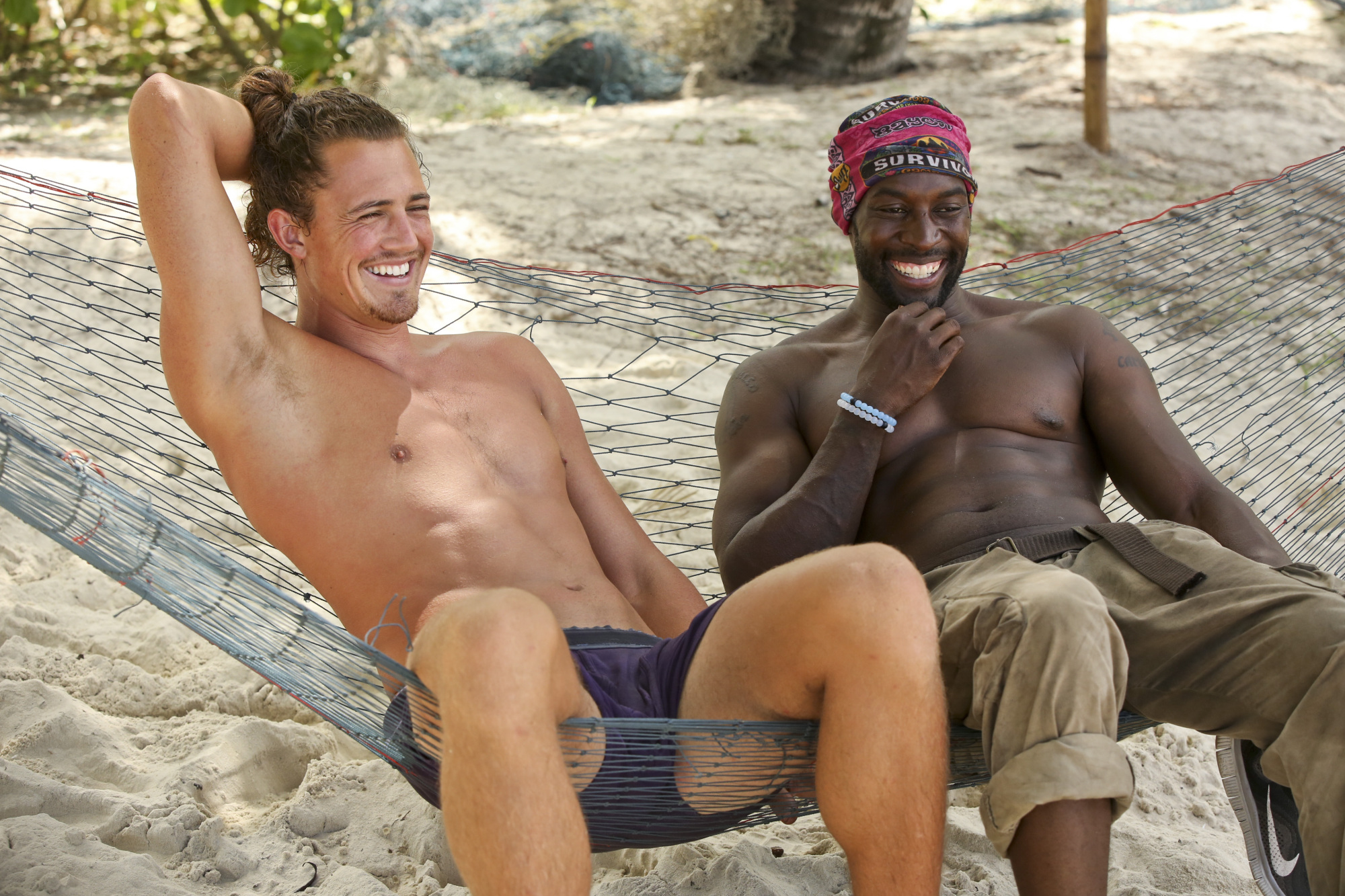 Joe Anglim with Jeremy Collins at camp on Survivor: Second Chance