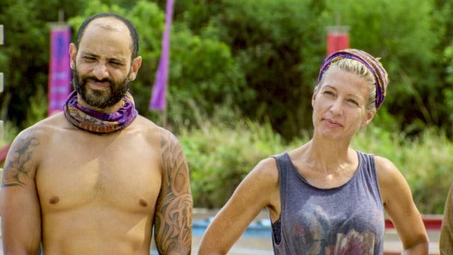 Joe Mena with Chrissy Hofbeck at challenge on Survivor: Heroes Vs. Healers Vs. Hustlers
