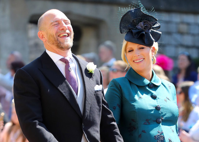 Mike Tindall and Zara Tindall arrive at St George's Chapel at Windsor Castle before the wedding of Prince Harry to Meghan Markle