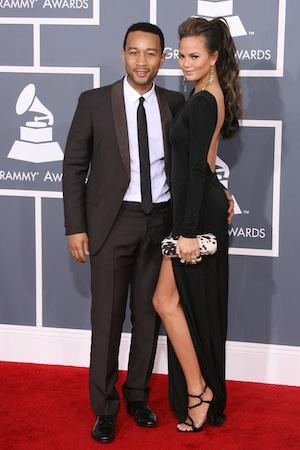 John Legend and Chrissy Teigen at the 2012 Grammys