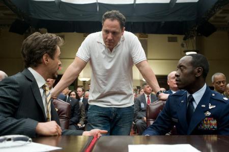 Jon Favreau directing Robert Downey Jr in Iron Man 2