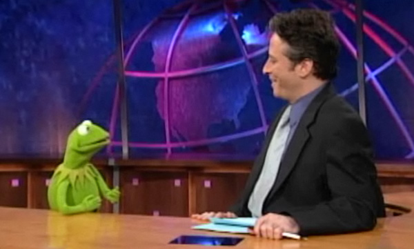 Jon Stewart with Kermit on Daily Show