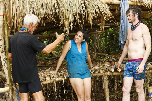 Joseph Del Campo, Aubry Bracco and Neal Gottlieb at Brains camp on Survivor: Kaoh Rong