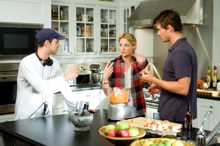 Josh Duhamel and Katherine Heigl on set