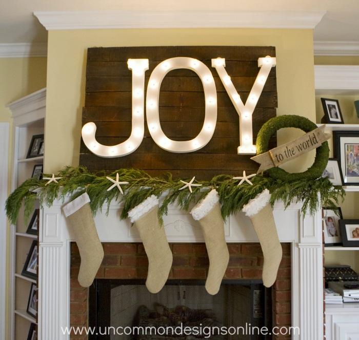 Joy mantel decor