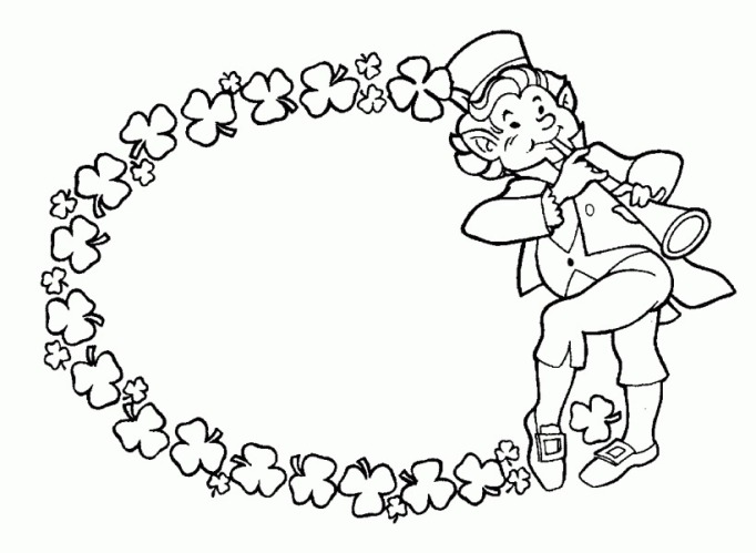 leprechaun, his flute, four leaf clover garland coloring page