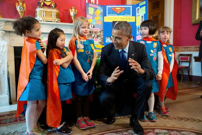 Obama with children at the White House Science Fair