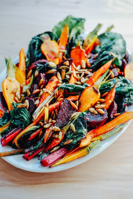 Yummy Winter Salads You'll Actually Crave   Roasted Vegetable Salad with Garlic Dressing + Toasted Pepitas
