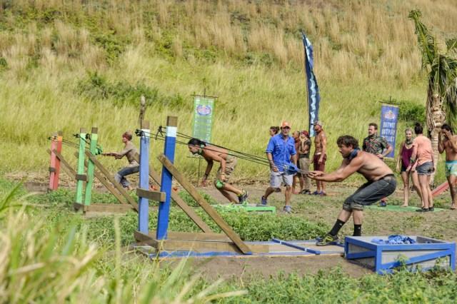JT Thomas competes in slingshot challenge on Survivor: Game Changers