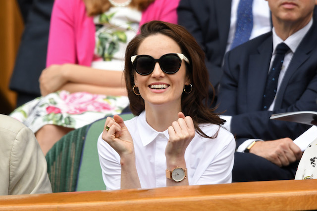 Michelle Dockery attends day eight of the Wimbledon Tennis Championships at the All England Lawn Tennis and Croquet Club