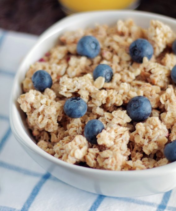 blueberries and oatmeal in bowl