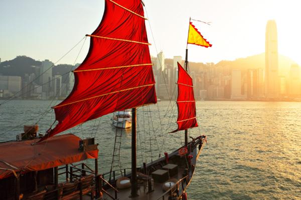 Junkship in Hong Kong harbor