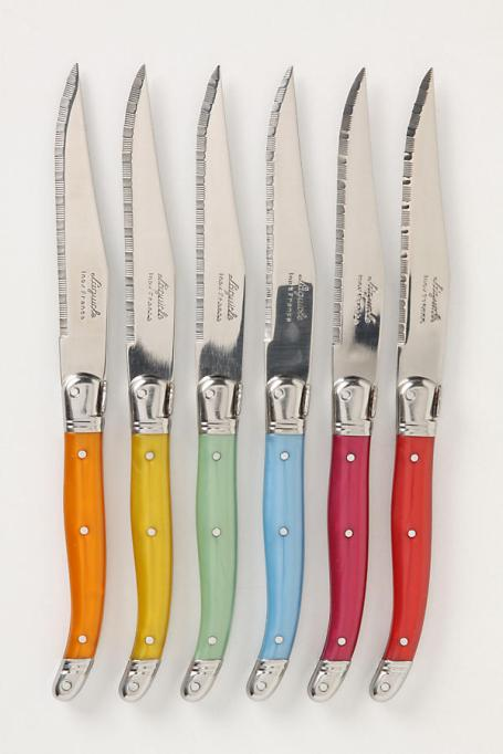 Wedding gift ideas: whimsical colorful steak knives.