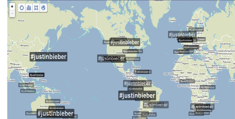 Justin Bieber hashtag trendsmap