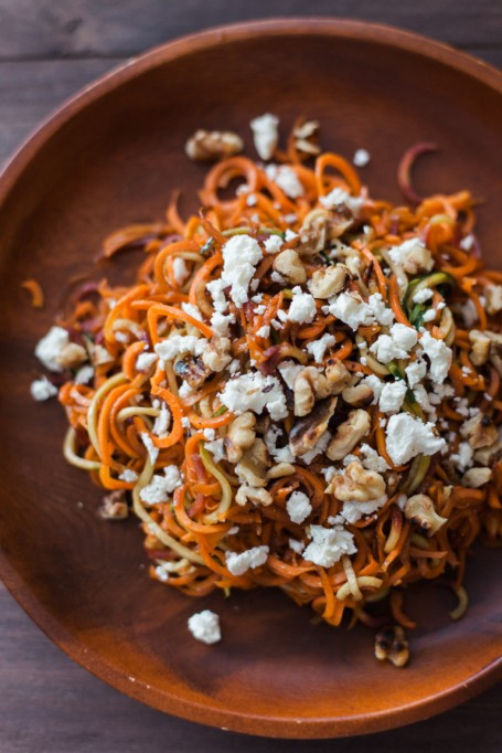 Yummy Winter Salads You'll Actually Crave   Roasted Spiralized Carrot, Feta, and Toasted Walnut Salad