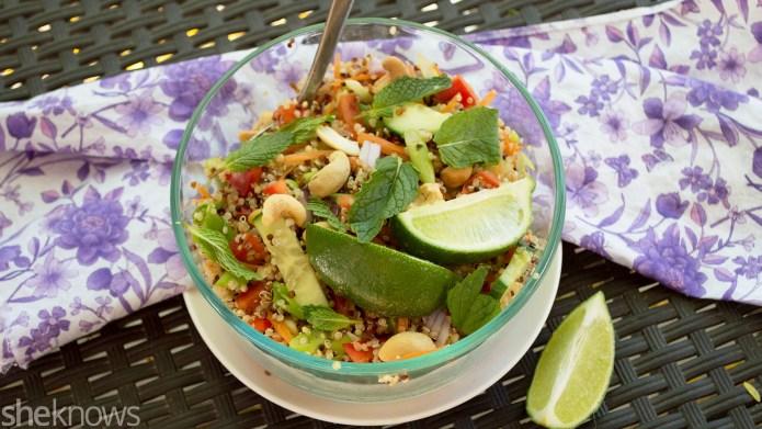 Vegan spicy Thai coconut curry quinoa
