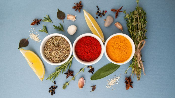 Curry, rosemary, paprika and spicy herbs
