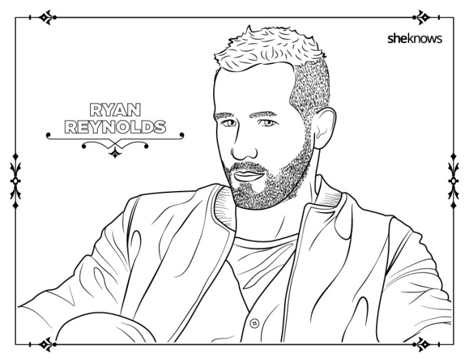 Ryan Reynolds coloring book page
