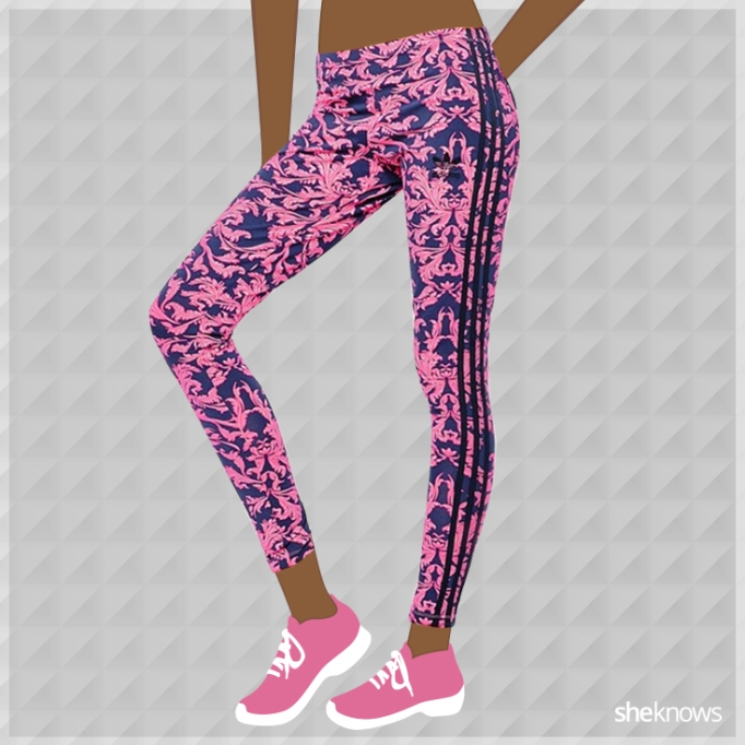 Pink and blue Adidas leggings