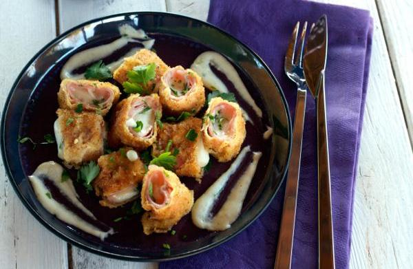 Fried ham and cheese rolls