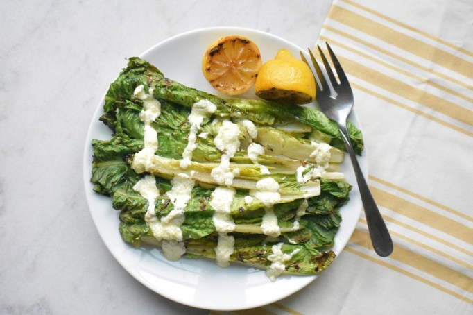 Grilled Romaine with Lemon Goat Cheese Dressing