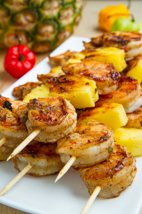 Grilled jerk shrimp and pineapple skewers from Closet Cooking