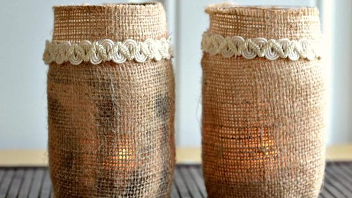 DIY Burlap tea candle luminaries